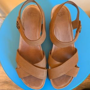 UGG tan leather sandals with strap.